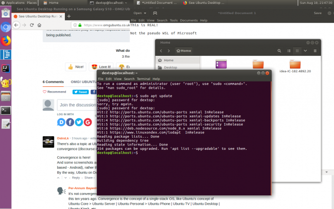 See Ubuntu Desktop Running on a Samsung Galaxy S10 | Tux