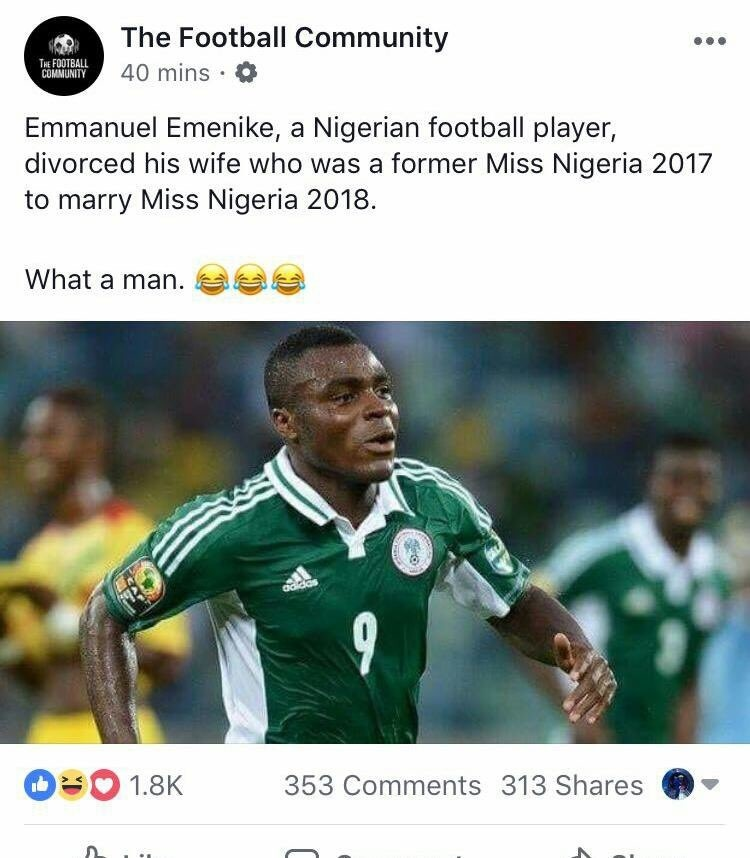 Emmanuel Emenike Fifa 18 Sep 12 2018 Sofifa