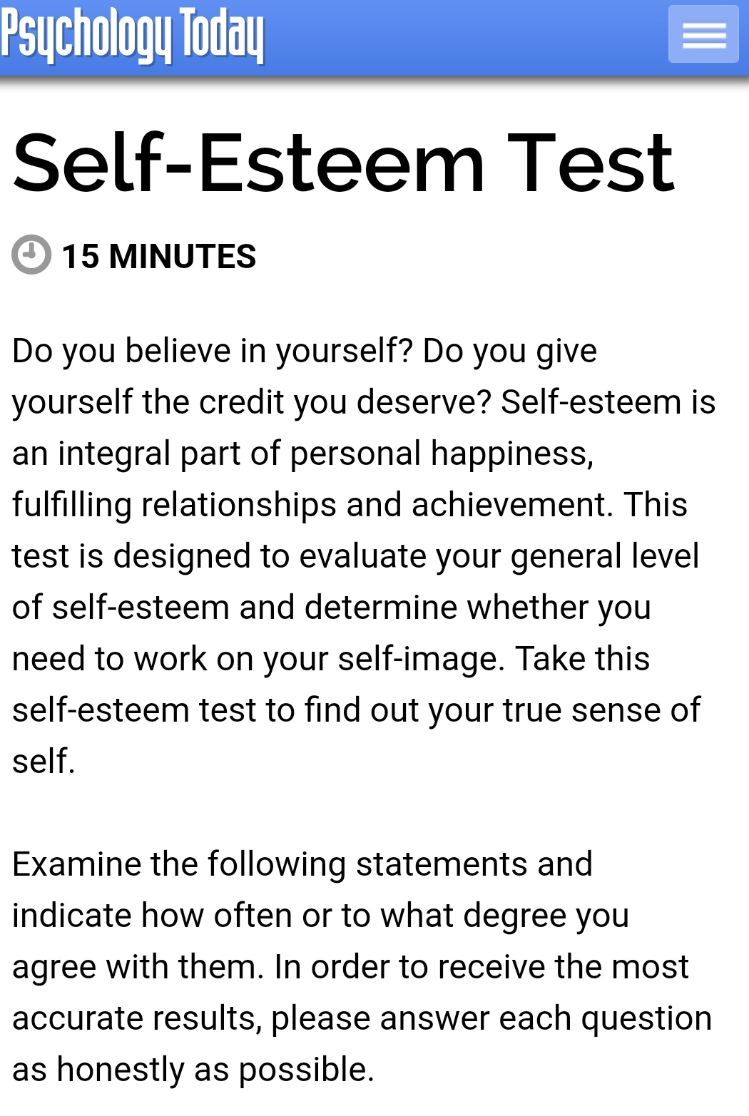 How Is Your Self Esteem Quiz