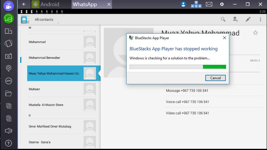 BlueStacks App Player has stopped working' when trying to