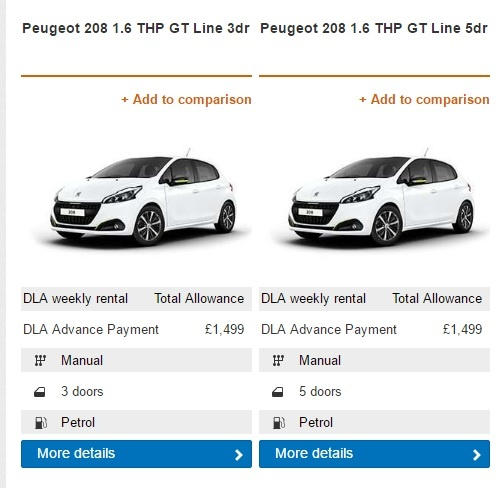 New Motability Prices 1st January 2017
