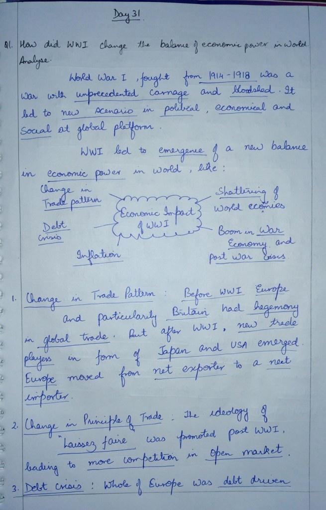 TLP-IASbaba - Day 31 – Q 1 How did World War I change the balance of
