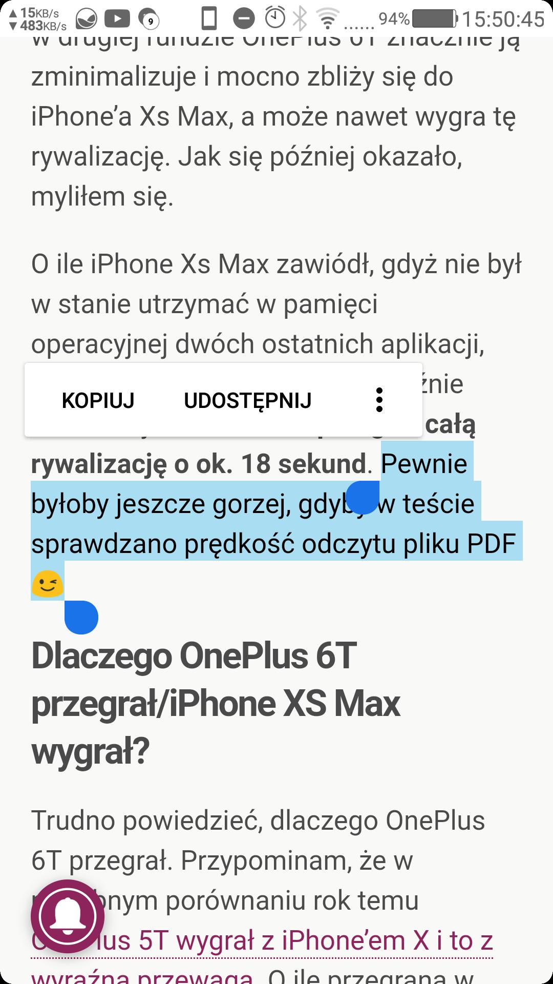 OnePlus 6T przegrał z iPhone XS Max  Najszybszy smartfon z