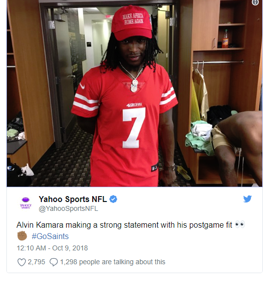 d839f7c6f Saints RB Alvin Kamara Wears  Make Africa Home Again  Hat and Kaepernick  Jersey to Stadium