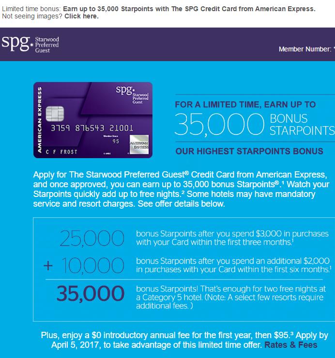 AmEx SPG 信用卡【2017.11 更新:Targeted 额外1x点数消费奖励】