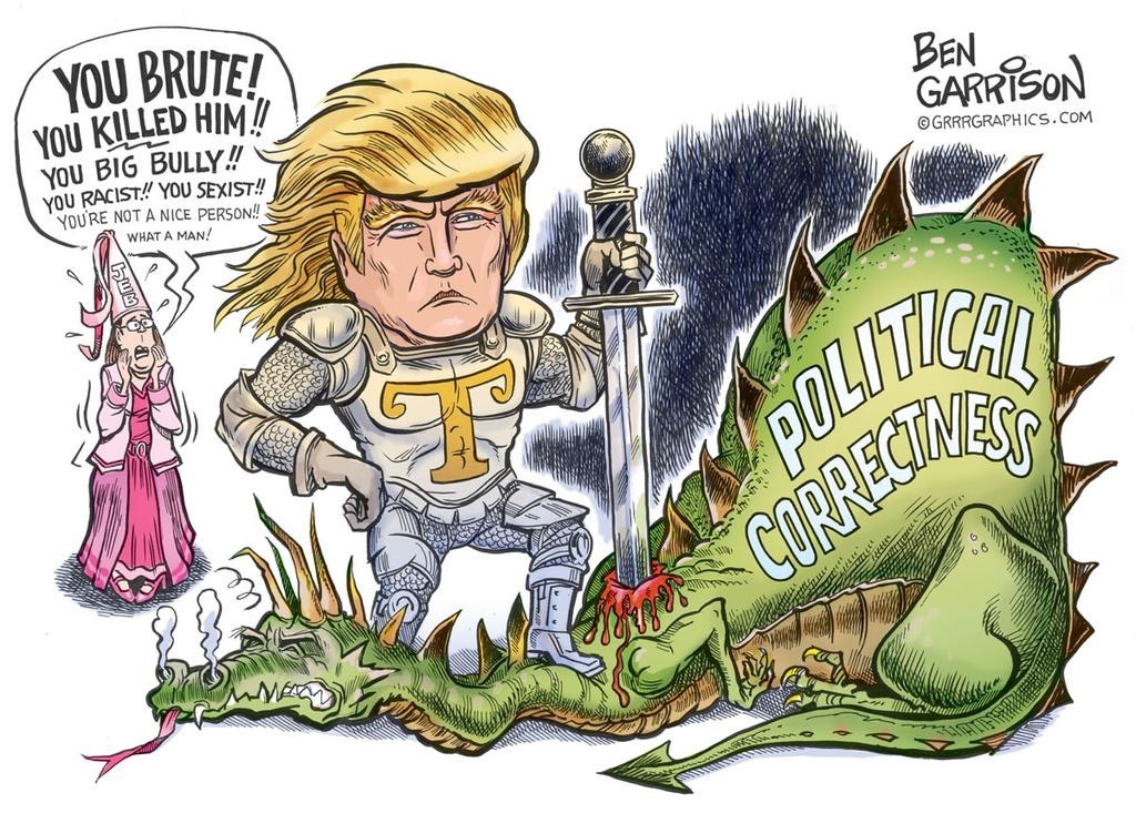 A political cartoon from Ben Garrison portraying Donald Trump killing the
