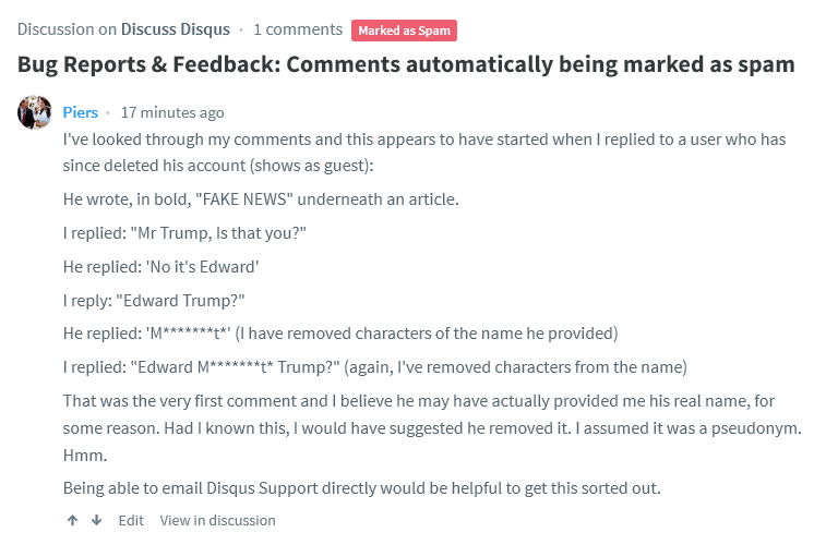 Bug Reports & Feedback: Comments automatically being marked as spam