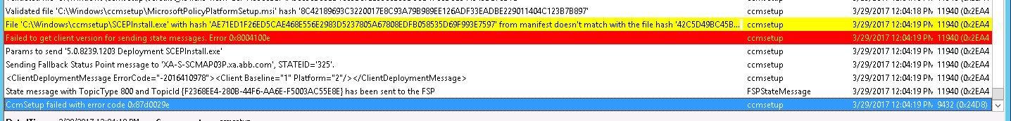 SCCM CCMSetup failed with error code 0x87d0029e