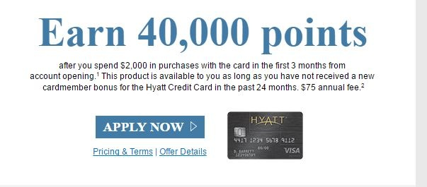 Chase Hyatt 40k offer (targeted) : churning