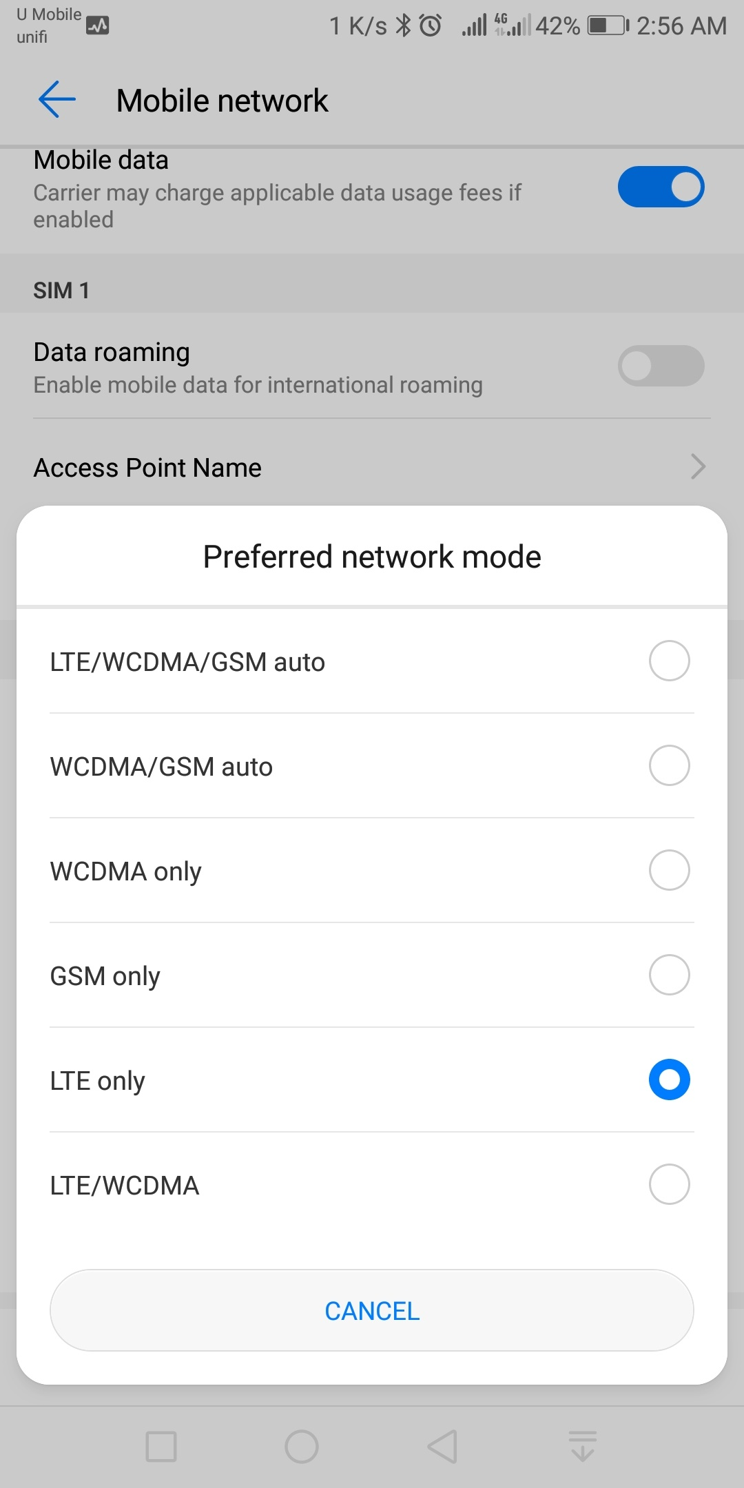 How to add 4G LTE Only option on Huawei phone without root - Barzrul