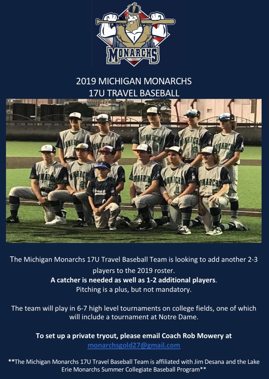 16u-Adult: 2019 Michigan Monarchs 17U Tryouts · Michigan Youth