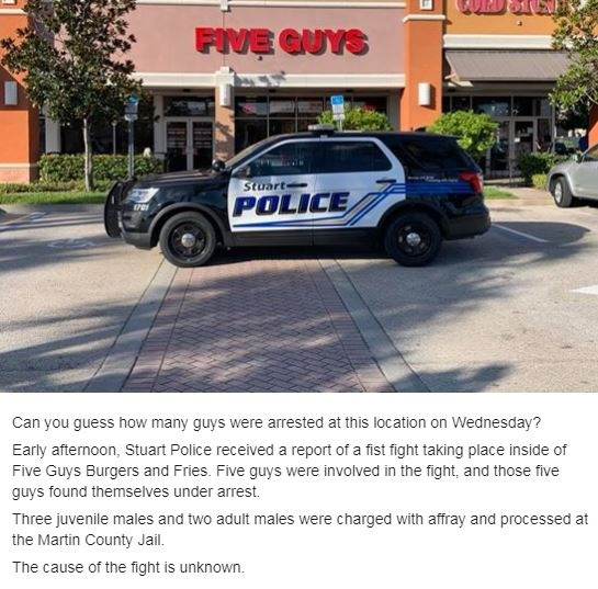 Five guys arrested after fist fight at Five Guys · The News