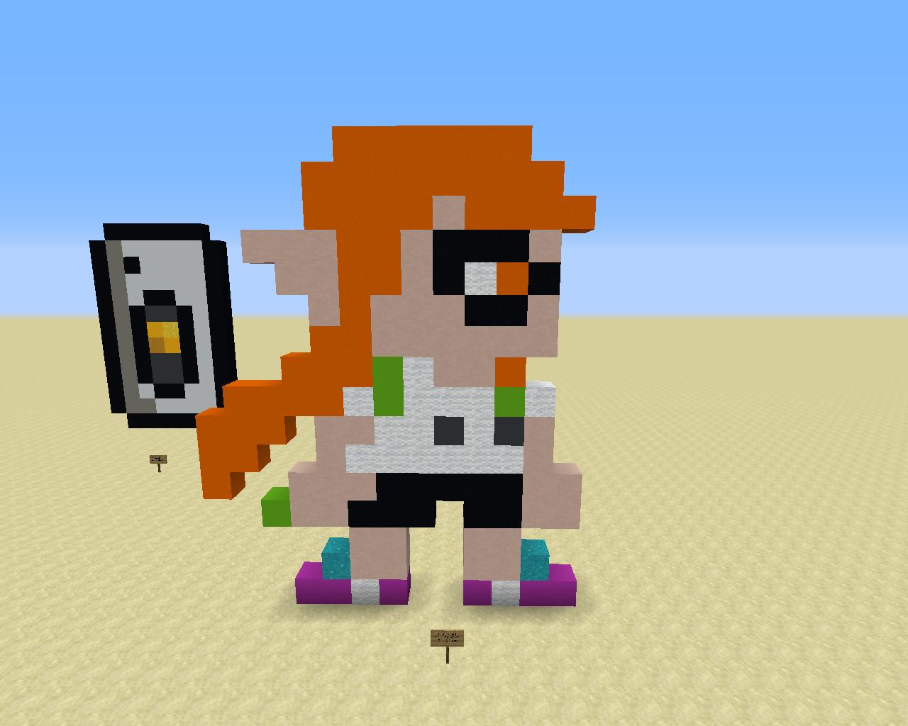 The orange Inkling Girl from Splatoon as she appears in Super Mario Maker.