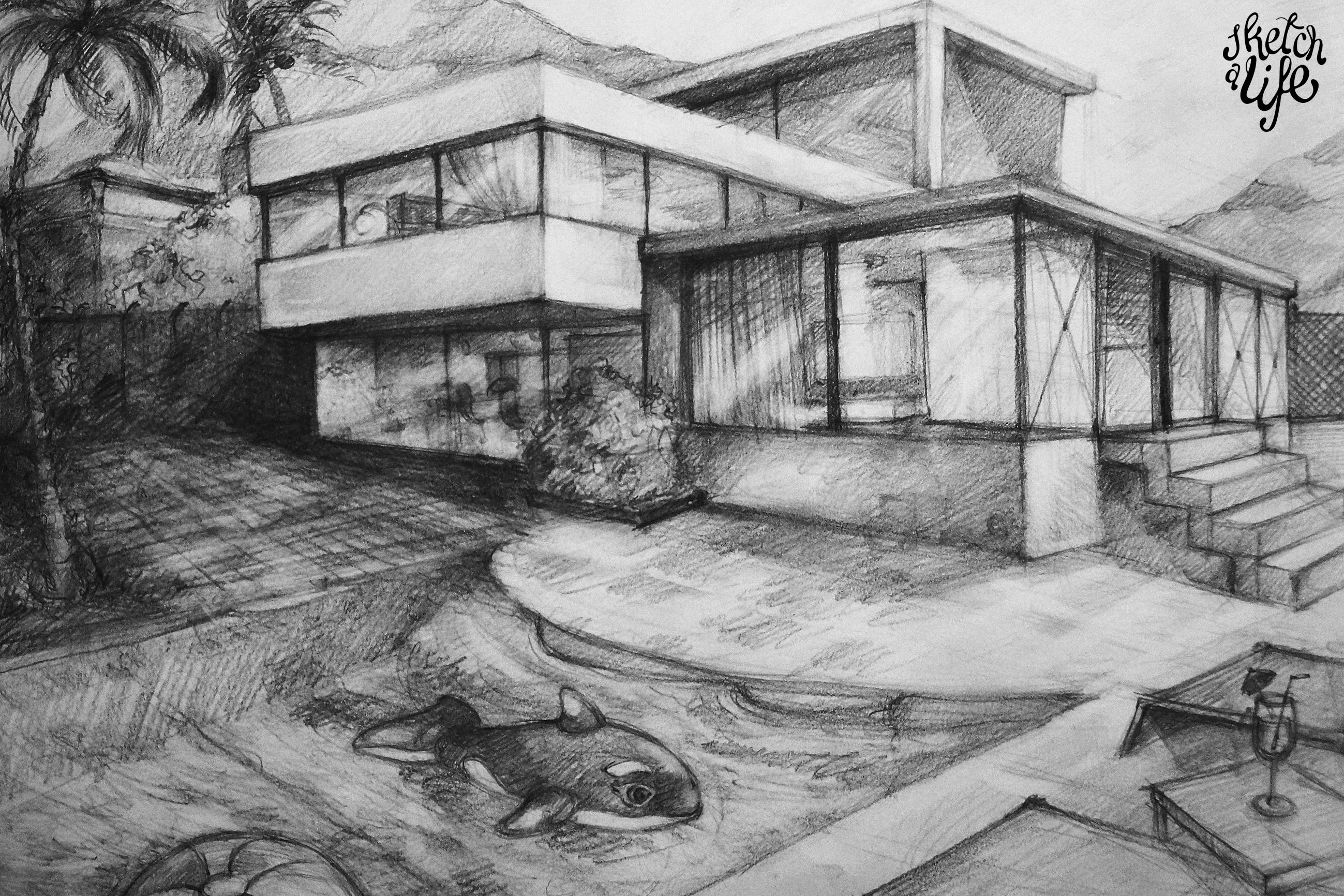 The gallery for pencil sketches of modern houses for House sketches from photos