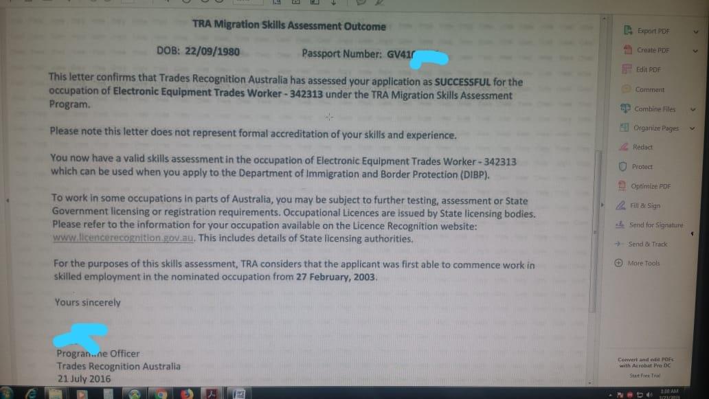 Australia SkillSelect EOI Sample for 189, 190, 489 PR - AM22