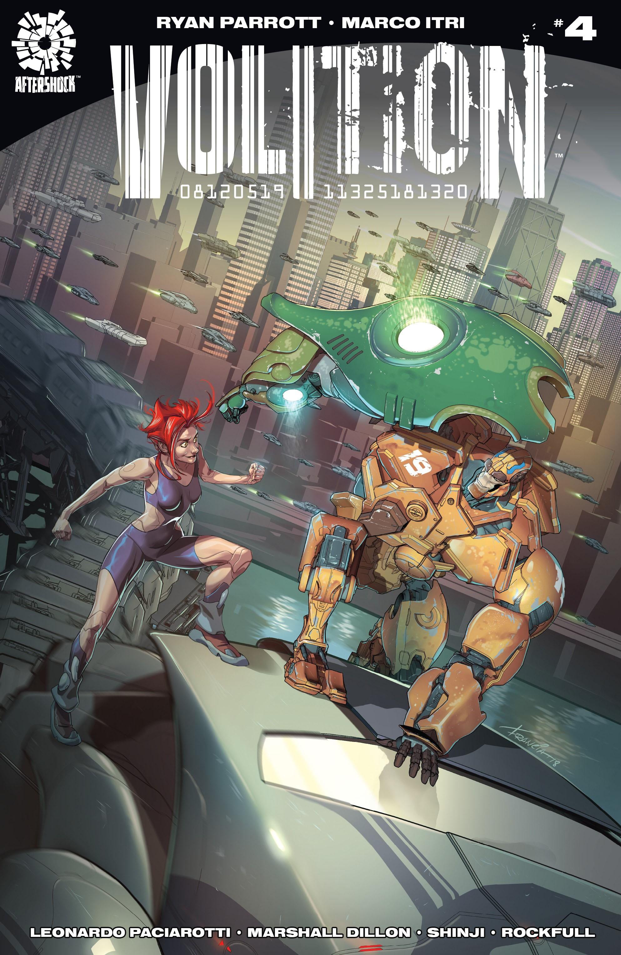 Actualización 24/03/2019: Shinji y Rockfull nos traen el numero 4 de Volition. A medida que se revela la desesperada verdad detrás de su viaje, Hale-19 y Amber-7T se encuentran en el corazón de la religión de los robots al igual que sus errores previos producen consecuencias violentas.